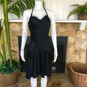 Diane Von Furstenberg Black Silk Halter Dress